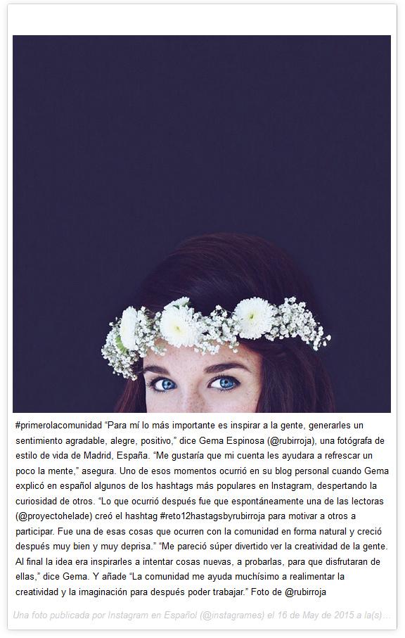 Gema Espinosa - @Rubirroja - @InstagramES - Instagram Blog #Reto12hastagsbyrubirroja